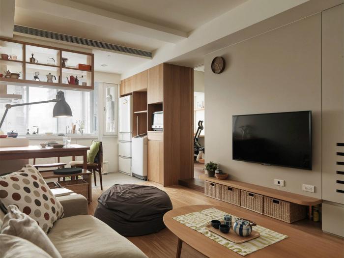 Двухкомнатная квартира-студия, где есть все необходимое для жизни.