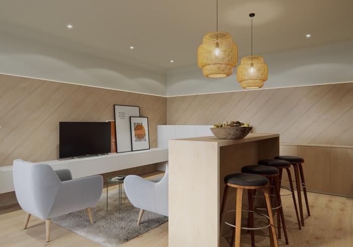 В одной комнате помещаются гостиная, столовая, спальня и кухня.