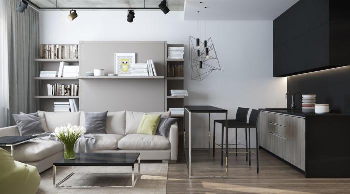 Обеденный стол разделяет кухню и гостиную.