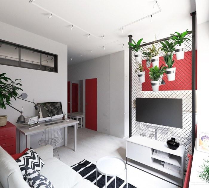 Стильная квартира-студия, декор которой основан на трех цветах: красном, черном и белом.