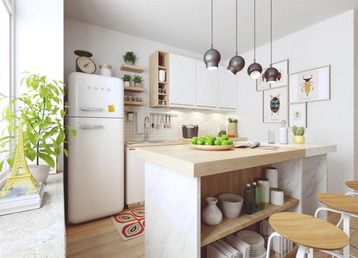 Кухня, оформленная в светлых тонах с использованием таких натуральных материалов, как дерево и мрамор.
