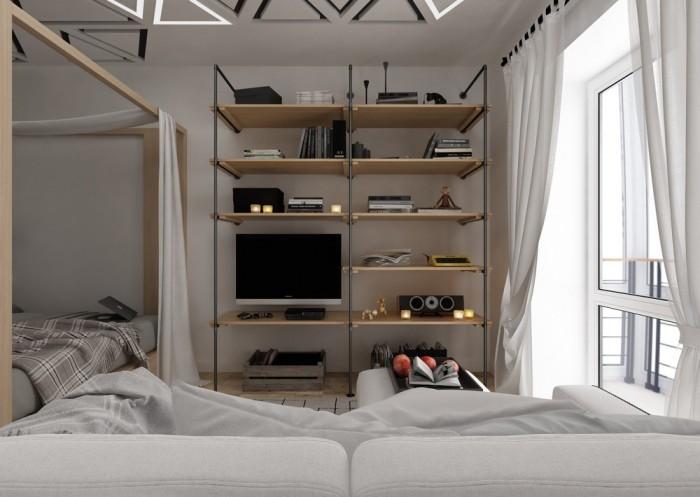 Своеобразная гостиная в малогабаритке площадью 28, 7 квадратных метров.