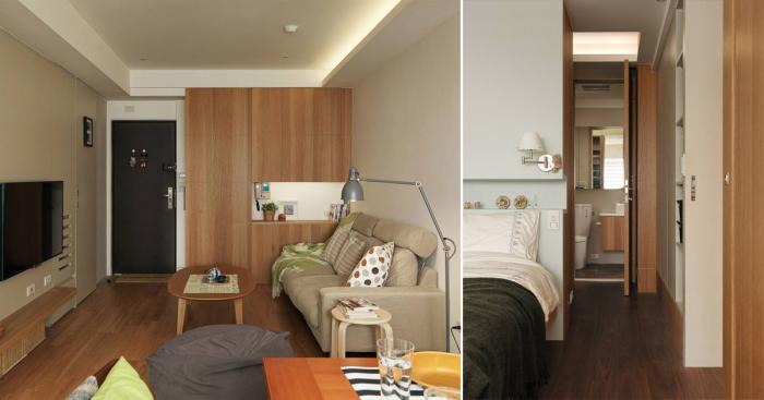 Дизайн маленькой квартиры, которая из однокомнатной превратилась в двухкомнатную.