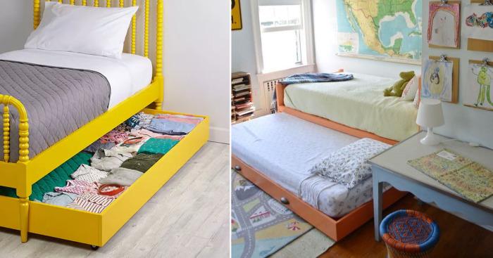 Свободное место под детской кроваткой можно использовать с толком.