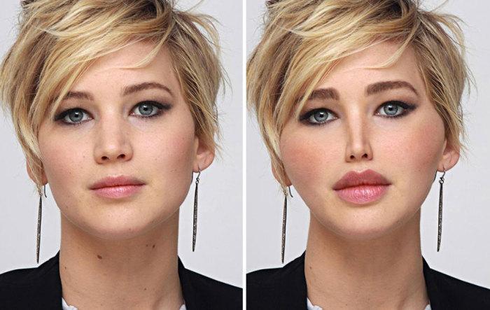 Вот как после пластических операций выглядела бы американская актриса Дженнифер Лоуренс (Jennifer Lawrence).