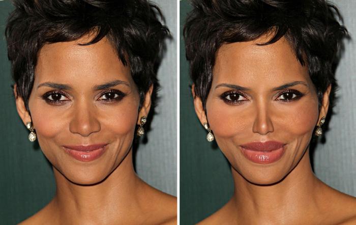 Так после услуг пластического хирурга изменилось бы лицо американской киноактрисы Хэлли Берри (Halle Berry).