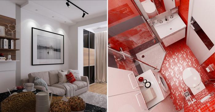 Стильная квартира, площадь которой чуть меньше тридцати квадратных метров.