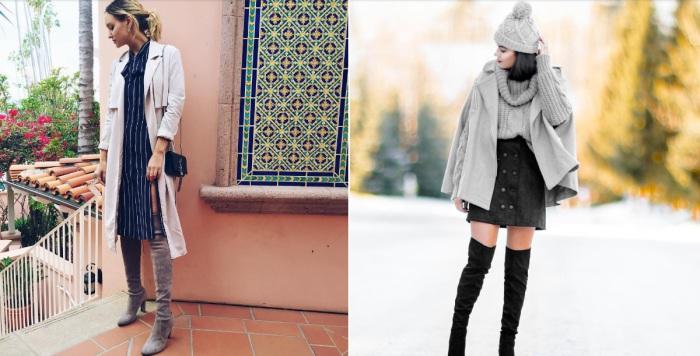 Сапоги выше колена в сочетании с платьем или юбкой помогают визуально удлинить ноги.