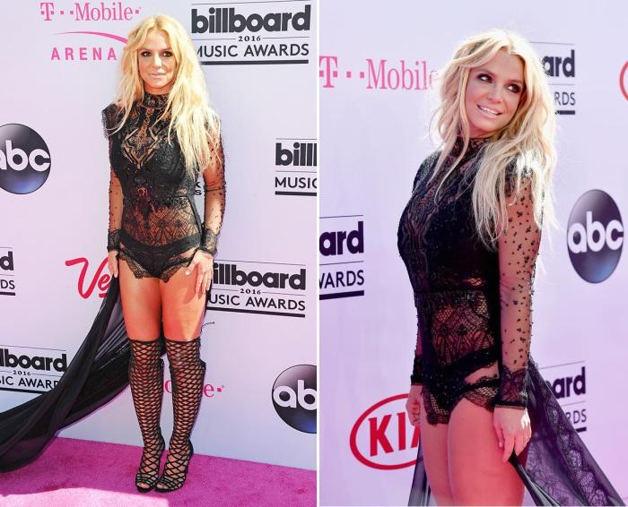 Американская поп-певица, танцовщица и киноактриса Бритни Спирс (Britney Spears) в очень открытом наряде со шлейфом на красной дорожке «Billboard Music Awards-2016».