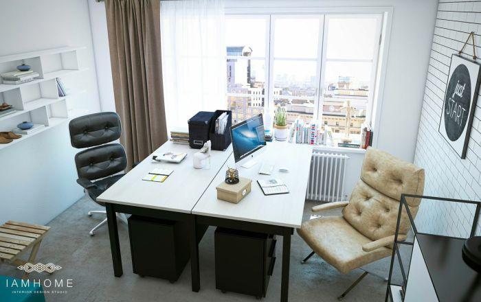 Мини-офис в квартире питерских художников, оформленный в скандинавском стиле.