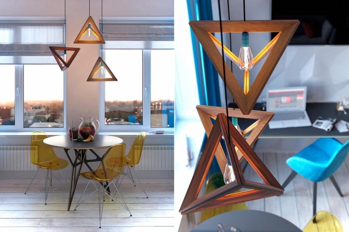 Геометрия во всем: в деревянных светильниках, а также в конструкции ножек стола и стульев.