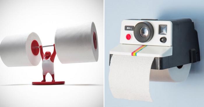 Забавные держатели для туалетной бумаги.