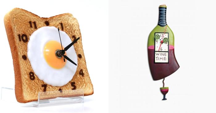 Необычные часы, которые будут здорово смотреться на любой кухне.