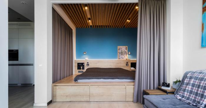 Изумительная квартира-студия, площадь которой всего 48 квадратных метров.