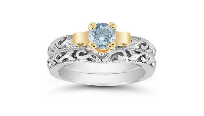 Art Deco Aquamarine Bridal Ring Set, вставка - голубой аквамарин, цена 749 долларов.
