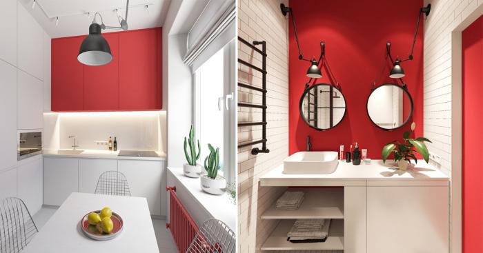 Потрясающая квартира-студия, оформленная в красно-черно-белой цветовой схеме.