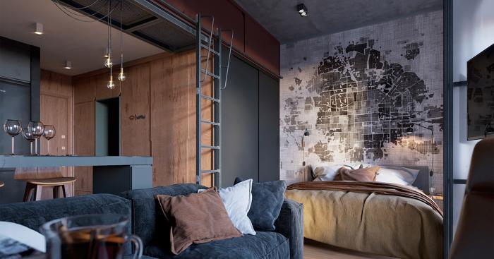 Квартира-студия, дизайн которой выполнен в темных тонах.