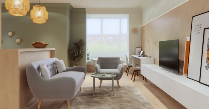 Квартира-студия с открытым пространством.