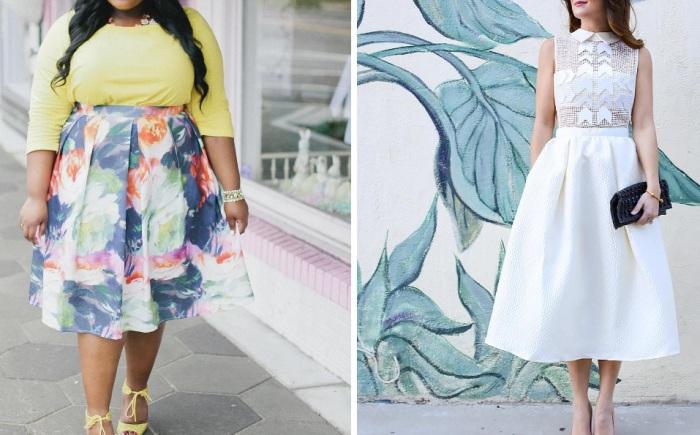 Миди-юбки подходят абсолютно всем девушкам, невзирая на рост, вес и тип фигуры.