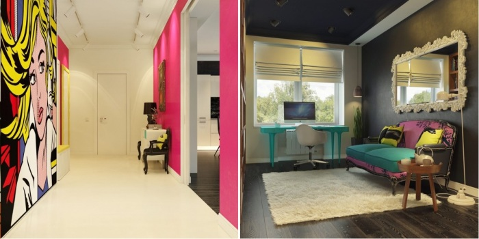 Невероятно интересная квартира, дизайн которой выполнен в стиле поп-арт.