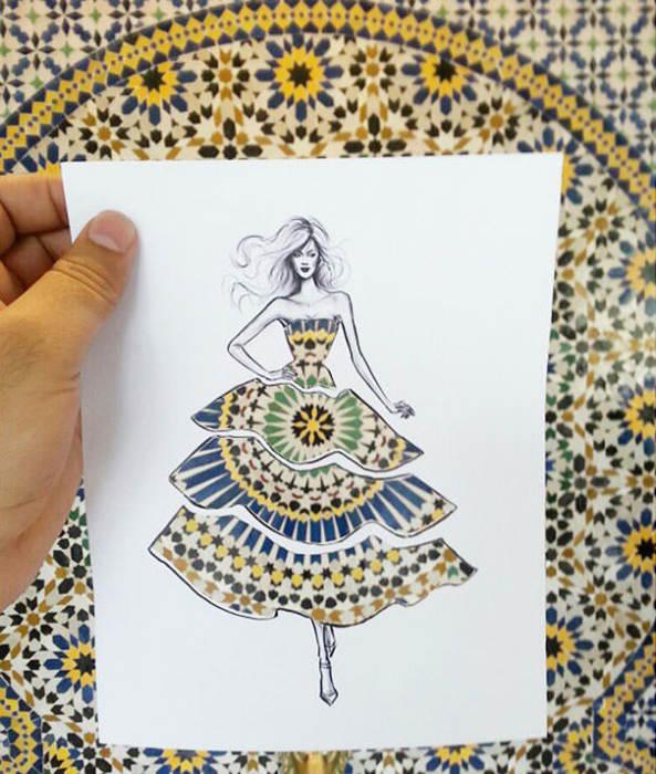 Дизайнер из Иордании Шамех Блуви (Shamekh Bluwi) превращает различные предметы и городские пейзажи в своеобразные принты для своей необычной бумажной одежды.