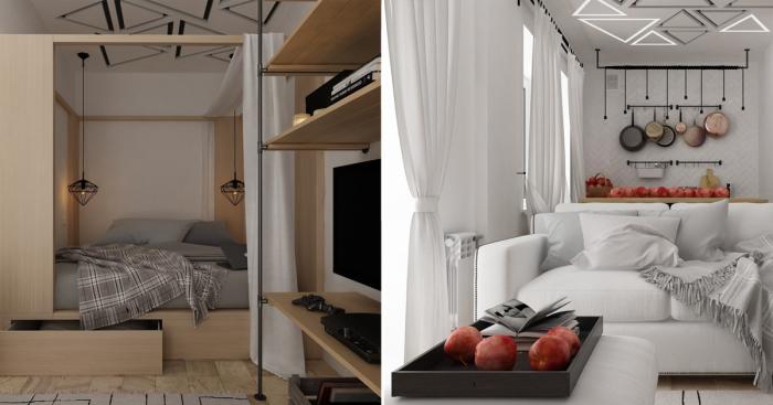 Небольшая квартира, площадь которой составляет всего 28,7 квадратных метров, превратилась в комфортные апартаменты.