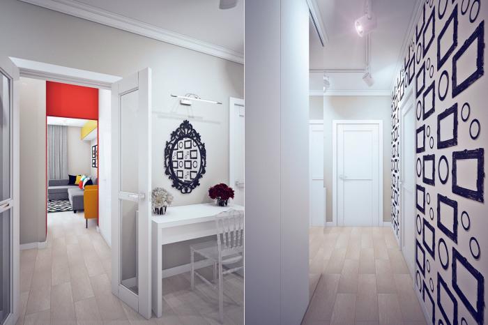 Коридор квартиры напоминает залы картинной галереи.