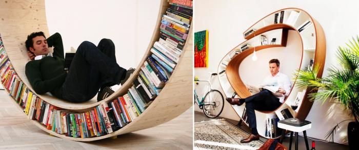 Удивительная книжная полка, внутри которой можно читать сидя или лежа.