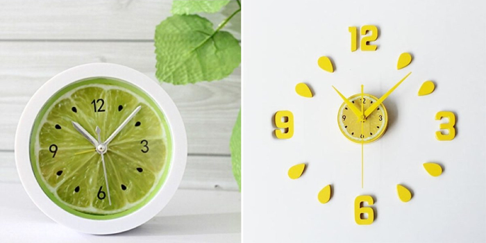 Яркие настенные кухонные часы с цитрусовыми мотивами.