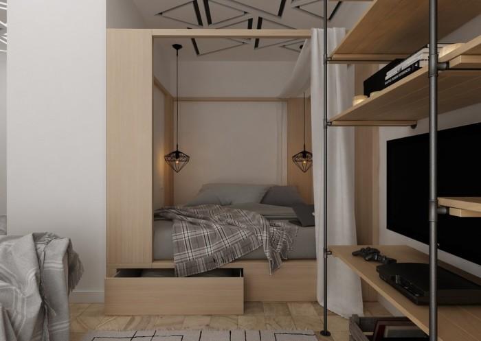 Небольшое спальное место в маленькой квартире, площадь которой менее 30 квадратных метров.
