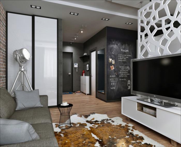 Необычный интерьер небольшой квартиры-студии, площадь которой всего 26 квадратных метров.