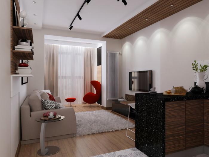 Маленькая квартирка с эффектными деталями ярко-красного цвета.