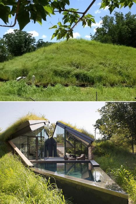 Комфортабельный дом, который спрятали под слоем травы.