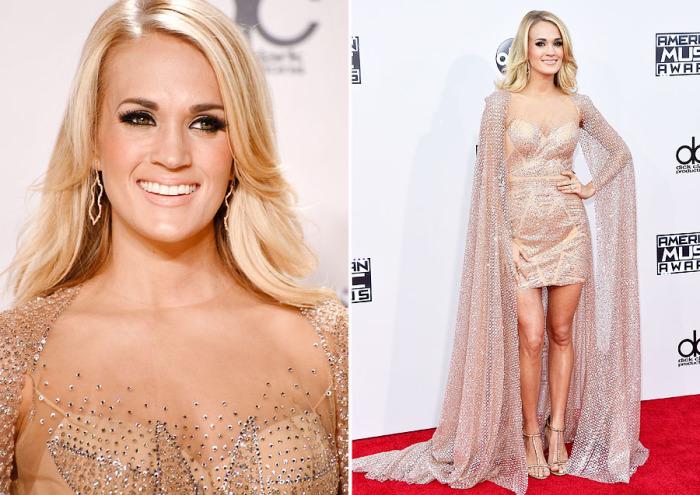 Американская исполнительница в стиле кантри Кэрри Андервуд (Carrie Underwood) появилась на красной дорожке «American Music Awards-2015» в прозрачном платье, декорированном стразами, от дизайнера Elie Madi.