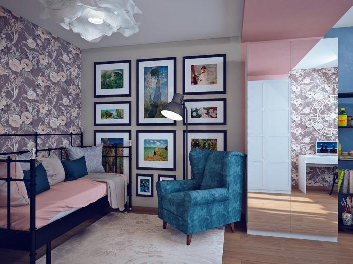 Девичья спальня оформлена в стиле под названием «импрессионизм».
