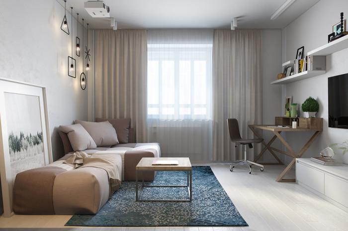 Гостиная с уникальными геометрическими светильниками.