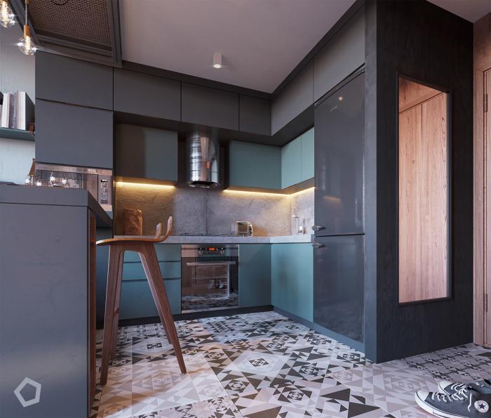 Стильный кухонный гарнитур со встроенным холодильником черного цвета.