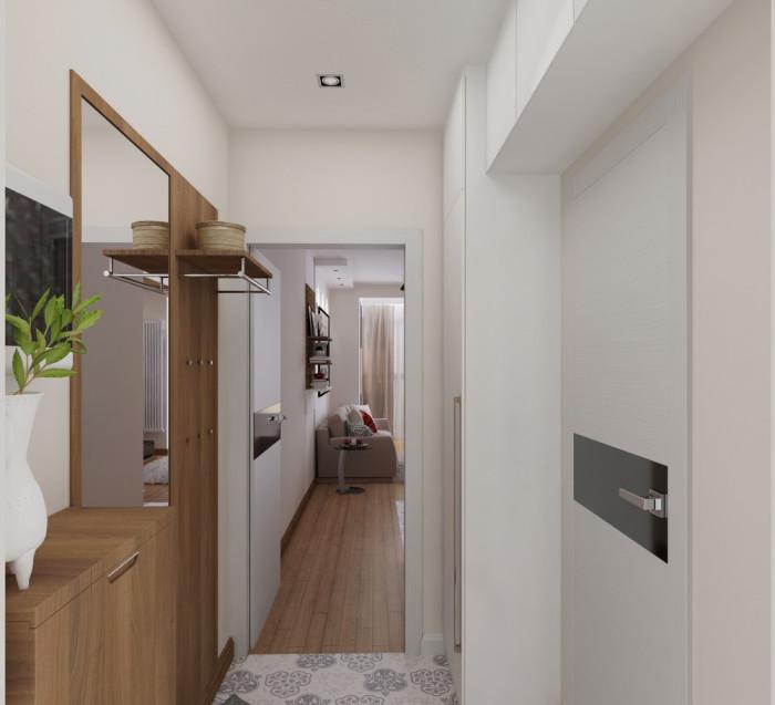 Прихожая в небольшой квартире, площадь которой менее тридцати квадратных метров.