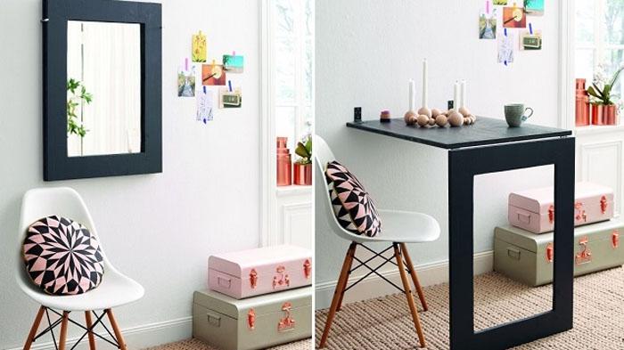 Раскладной столик, который маскируется под зеркалом или картиной.