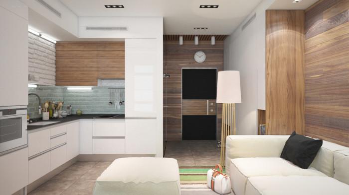 В оформлении этой квартиры-студии использованы натуральные материалы и нейтральные цвета.