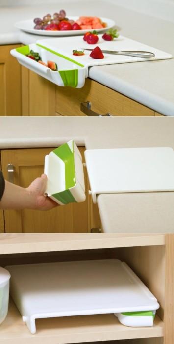 Разделочная досточка с контейнером для мусора - отличный способ приготовить еду и оставить кухню чистой.