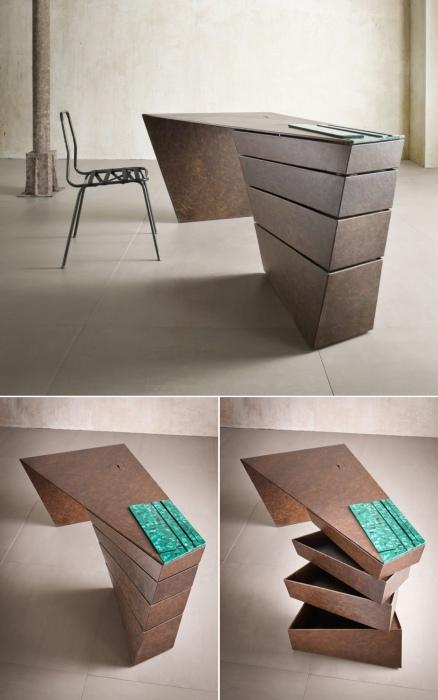 Этот асимметричный рабочий стол выглядит как скульптура, а не просто как предмет мебели.