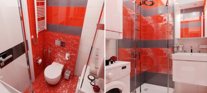 Вместительная ванная комната в маленькой квартире.