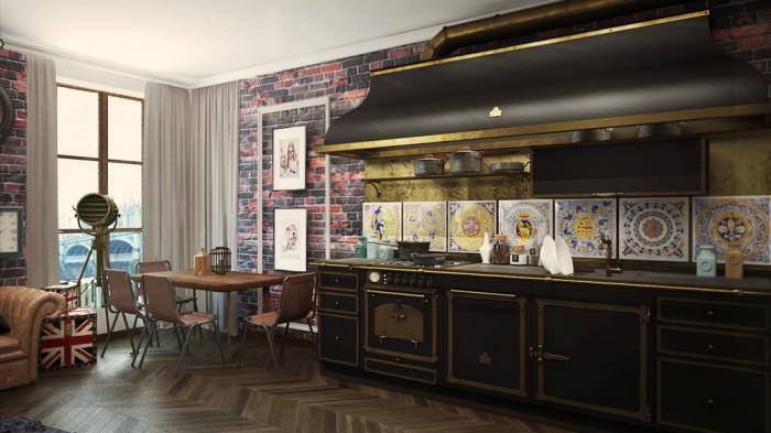 Обеденный стол и занятный кухонный гарнитур в английском стиле.