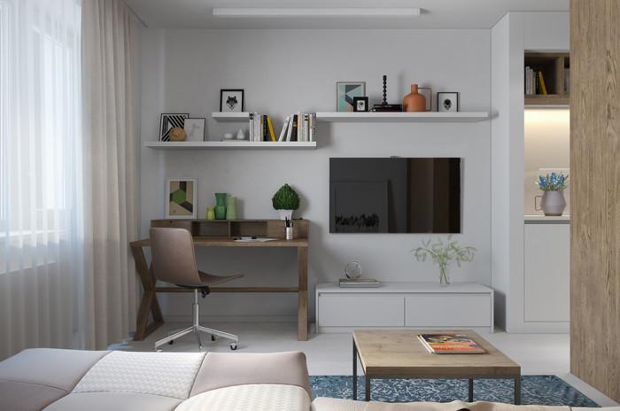 Рабочая зона и плазменная панель в гостиной.