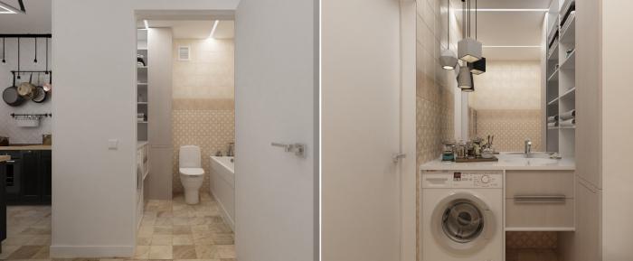 Ванная комната, которая располагается на площади 3, 3 квадратных метра.