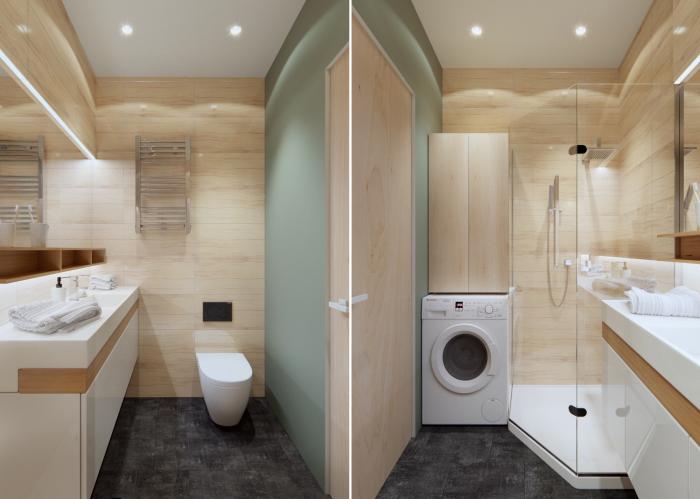 Совмещенный санузел, в котором есть все необходимое: душ, унитаз, раковина со стеллажом и стиральная машина.