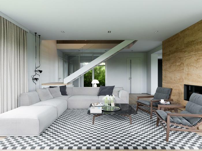 Гостиная с ковром, напоминающим шахматную доску.