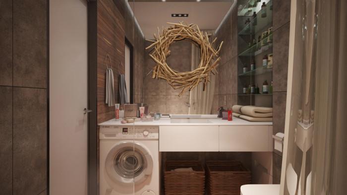 Ванная комната с оригинальным зеркалом из морских коряг (дрифтвуда).