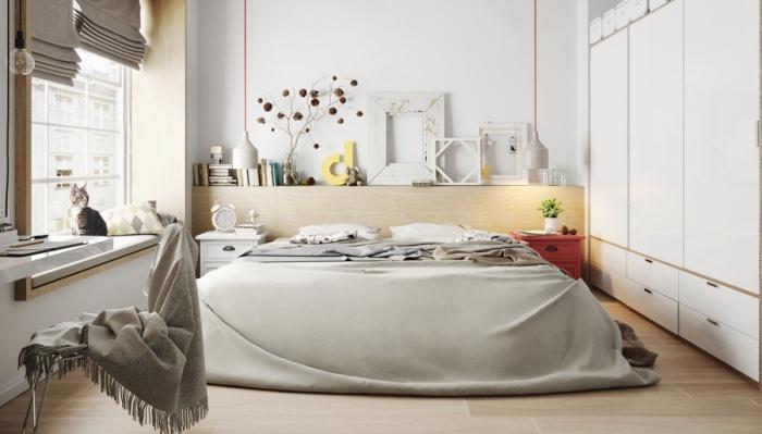 Светлая и уютная спальня в скандинавском стиле.